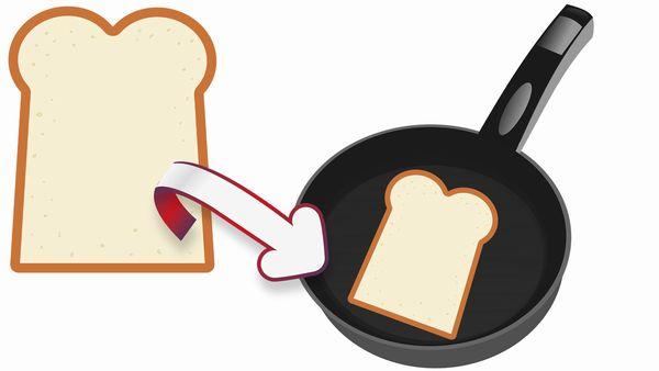 食パンをフライパンで焼くイラスト